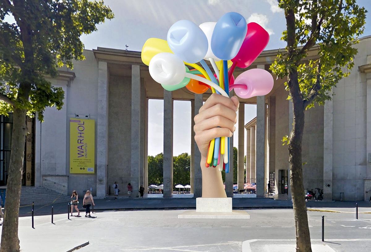 У Парижі почався монтаж «Букету тюльпанів» Джеффа Кунса