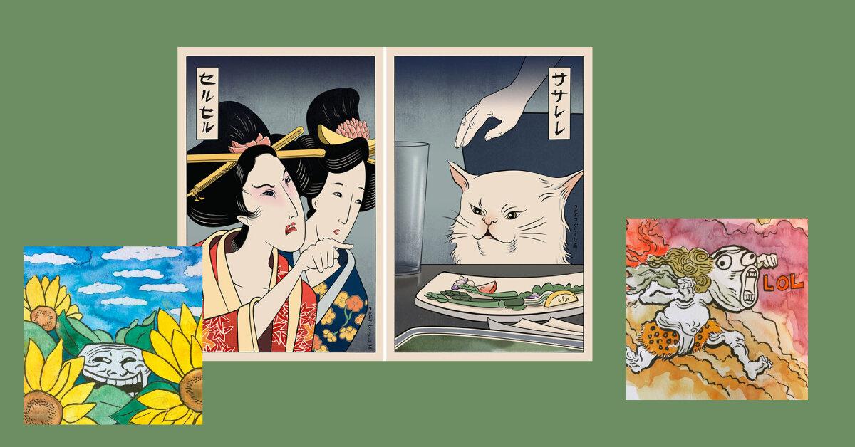 Художник малює меми в стилі японських гравюр