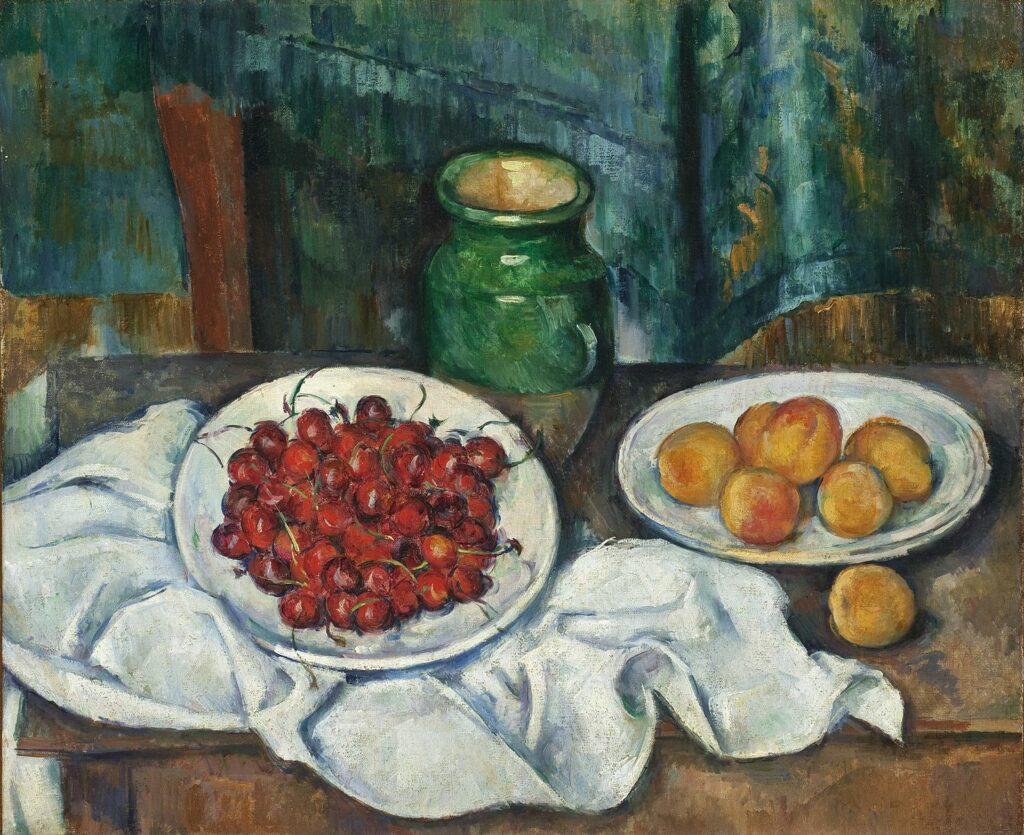 Поль Сезанн. Натюрморт з вишнями і персиками, 1885-1887