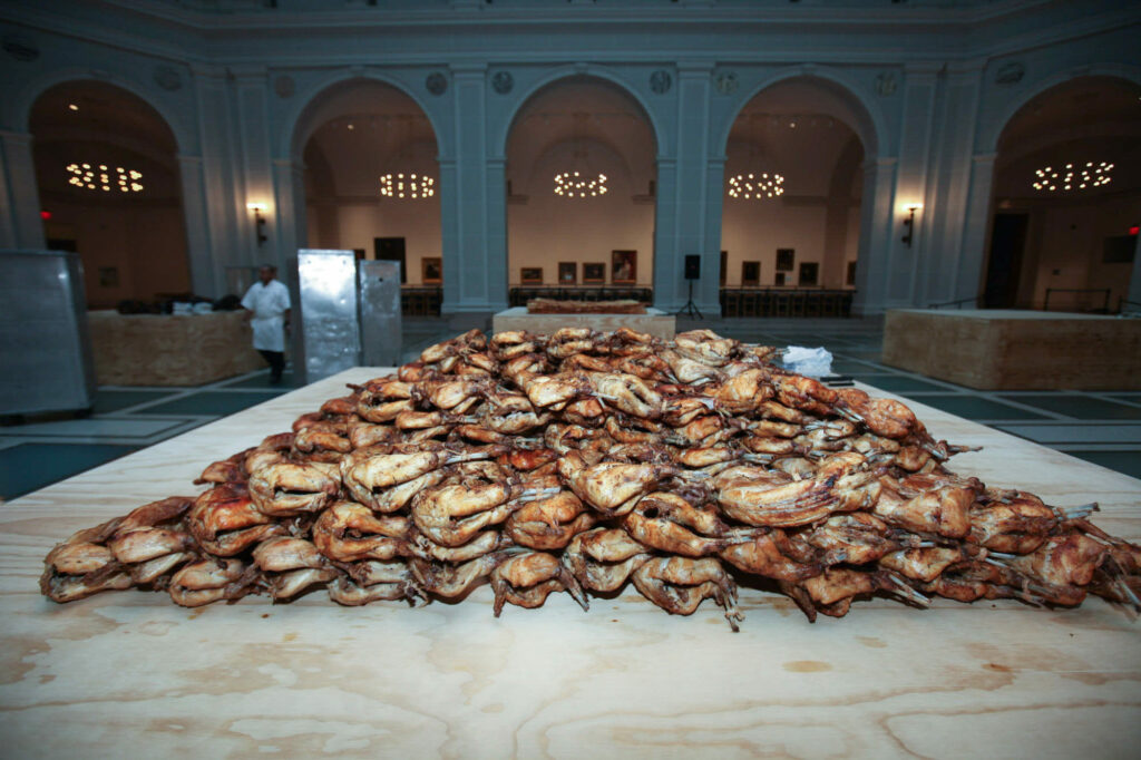 Cooked rabbits served as part of Jennifer Rubell_s _Icons_ (2010) at the Brooklyn Museum. (Photo- Courtesy Kevin Tachman)