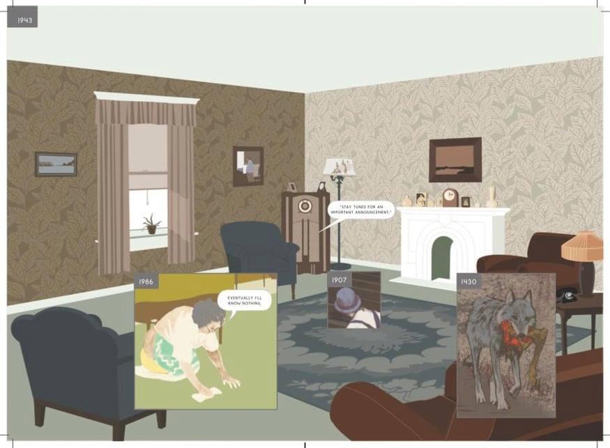 Фрагмент з графічного роману «Here» Річарда Макґваєра.