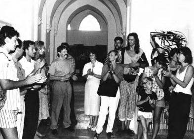 Зліва направо: Семен Каліка, Маргарита Жаркова, Тетяна Вербицька, «ТИРС», 1990-ті
