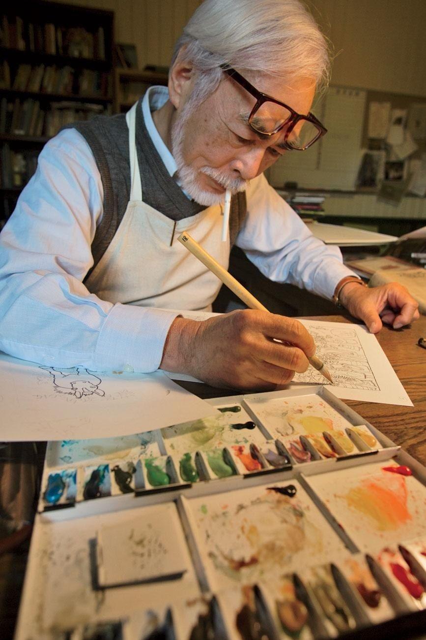 Хаяо Міядзакі за роботою. Фото: Хіродзі Кубота