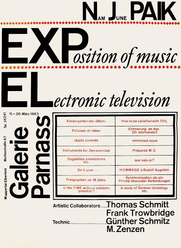 Нам Джун Пайк, Exposition of Music – Electronic Television, 1963, ©Media Art Net