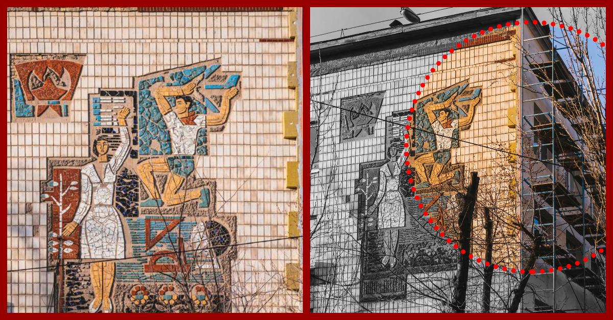 Український інститут національної пам'яті виступив проти руйнування мозаїки на фасаді гімназії Києва