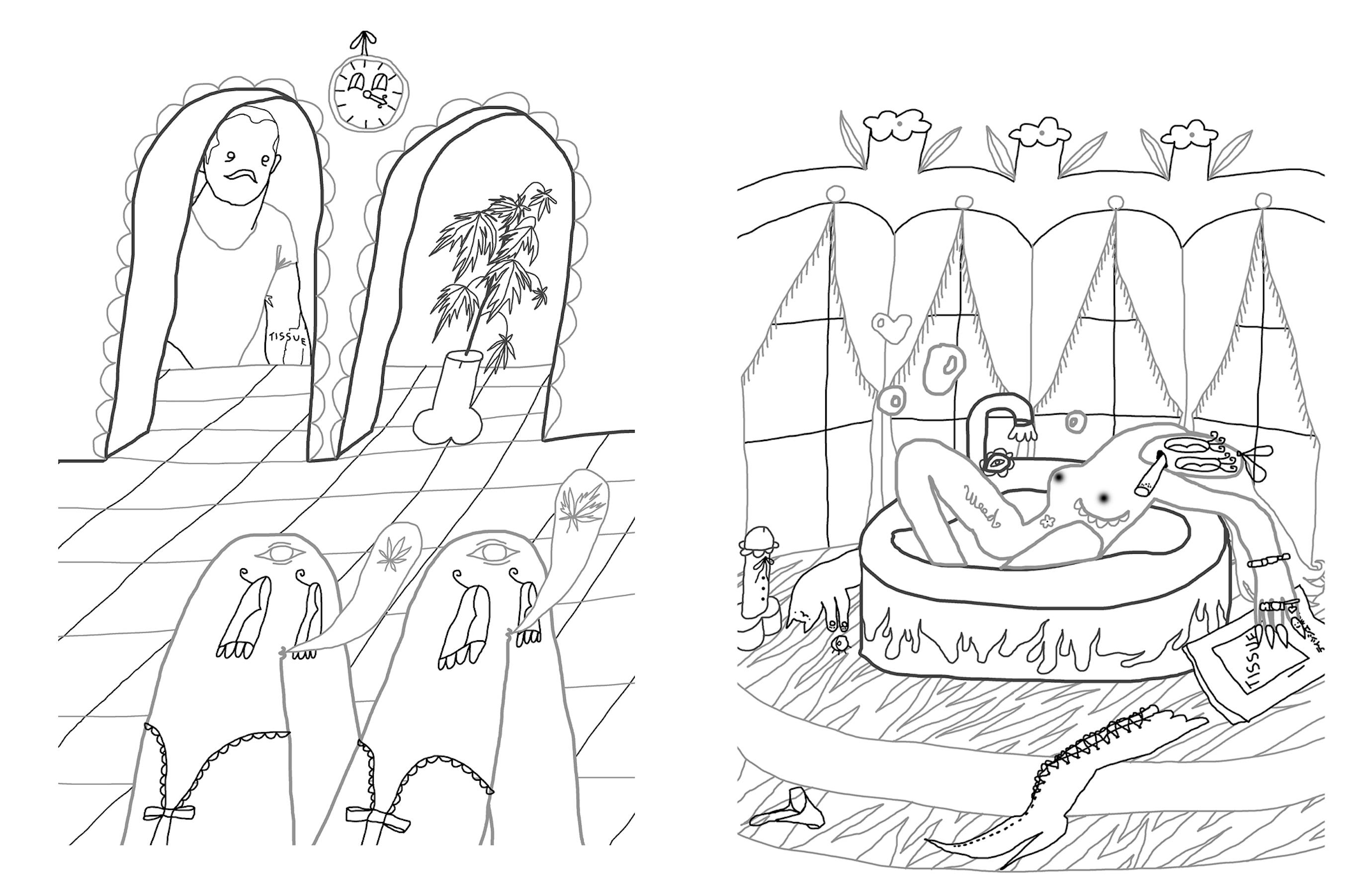Фрагмент розмальовки Люби Кучерявої для TISSUE Magazine