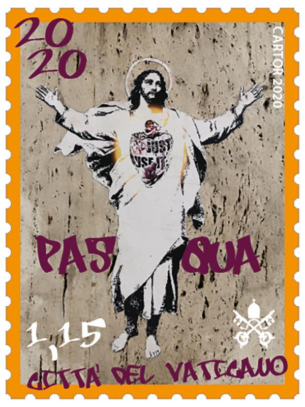 Пасхальна марка 2020 року з зображенням роботи Алессії Беброу. Image courtesy of the Philatelic and Numismatic Office of the Vatican City State. Джерело: news.artnet.com