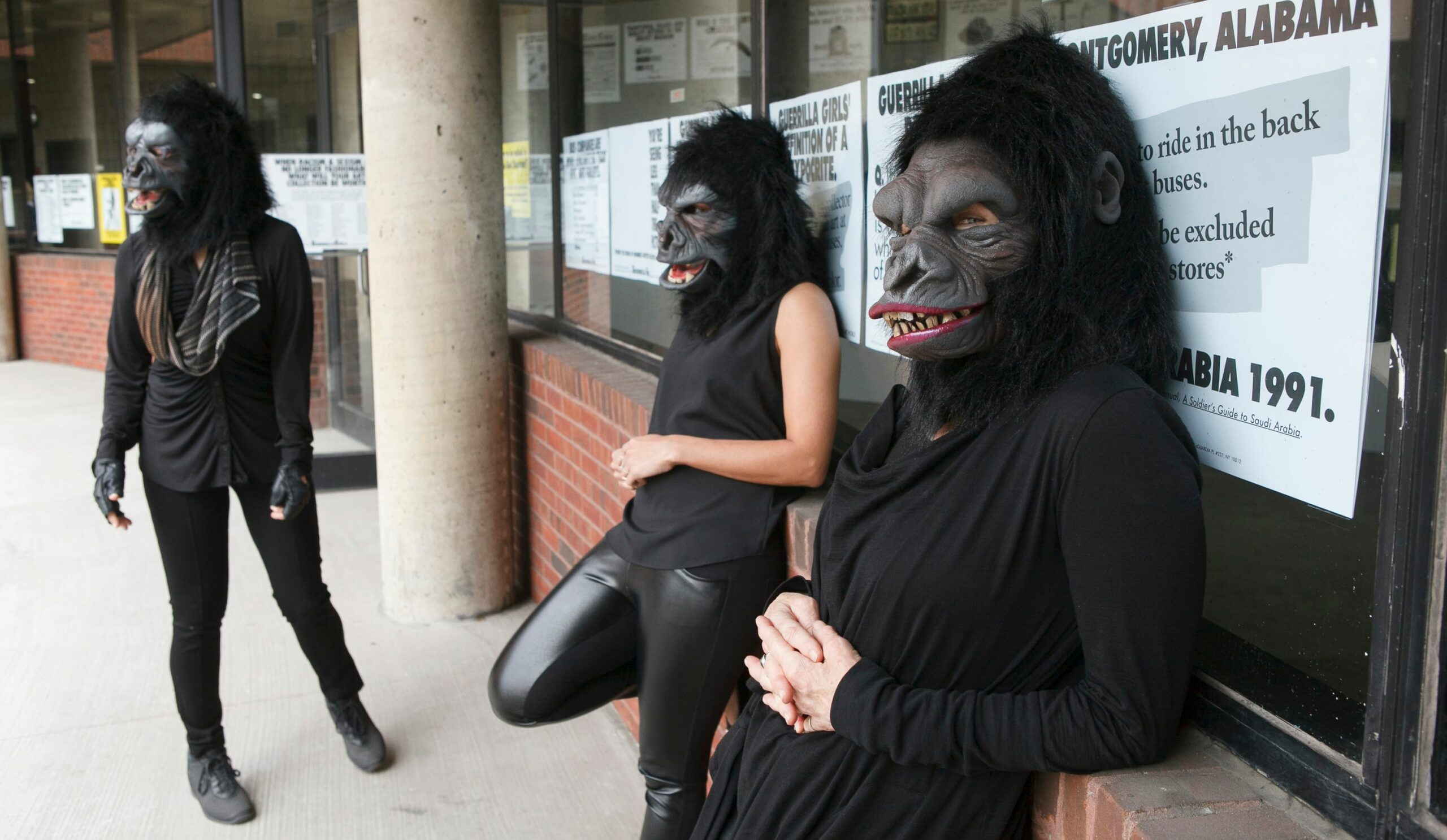 """Photo © Andrew Hindraker Guerrilla Girls artists Kathe Kollwitz, Zubeida Agha and Frida Kahlo during a press preview for an exhibition of works by the Guerrilla Girls titled """"Not Ready To Make Nice: 30 Years And Still Counting,"""" at the Abrams Art Center, 466 Grand St, New York, NY on Thursday, April 30, 2015.Photograph by Andrew Hinderaker"""