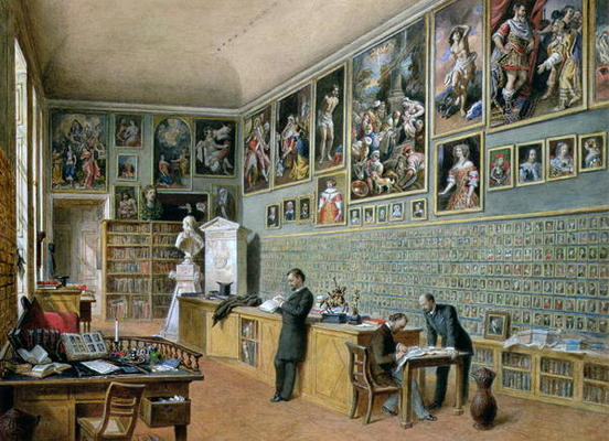 Карл Гебель, The Library, in use as an office of the Ambraser Gallery in the Lower Belvedere (1879)